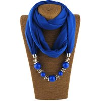 Novo pingente cachecol colar de pérolas colares para mulheres chiffon hijab pingente jóias envoltório feminino acessórios