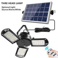 LED 태양 분할 접는 에너지 절약 실내 옥외 안뜰 풍경 샹들리에 3 마리의 정원 장식 빛 원격 제어