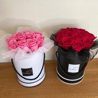 Букет цветов коробка упаковка искусственная цветочная композиция стенд ваза дома свадебные партии стол декор круглые подарки коробки с крышкой