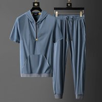 2020 new summer short-sleeved lapel shirt casual sports suit mens thin straight sports two-piece suit