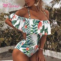 Bandeau Badeanzug Rüschen Badeanzug Pflanze Print Frauen Bademode Sexy Bodysui 2021 Hohe Taille Ein Stück Anzüge Micro Beachwear