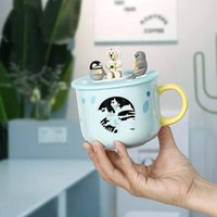 Starbucks Cup mignon dessin animé Polar Bear Pingouin respectueux de l'environnement Céramique Kawaii Tasses Café Tazas pour amis