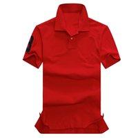 패션 - 고품질 여름 100 % 코 튼 폴로 셔츠 미국 미국 브랜드 붉은 색 폴로스 남자의 큰 말 고전적인 스포츠 RL 폴로 폴로스
