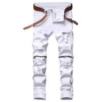 Erkek Beyaz Düz Bacak Kot Diz Fermuar Tasarım Sıkıntılı Yırtık Delikler Yüksek Streç Denim Pantolon