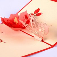 1 UNID 3D Pop Up DIY Butterfly Flower Postal Tarjetas de felicitación Día de San Valentín Fiesta de cumpleaños Tarjeta de invitación Día de la madre Regalos