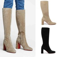 Khaki Suede Leather Women long boot Paris luxury designer shoes Red bottom boots Cavalika suedes knee-high bootie chunky heeled with boxes EU35-43