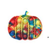 Party Favor Pumpkin Push Bubble Sensory Toy Antistress Game Stress Relief Silicone Fidget Toys Drop Ship RRD8962