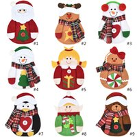 Christmas Decorations Tableware Cover Xmas Table Decoration Cartoon Santa Claus Elk Snowman Penguin Knife and Fork Covers GWD10569