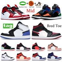 أعلى جودة 1 ثانية منتصف شيكاغو bred تو أحذية كرة السلة متعددة براءات الاختراع الفكر 16 الليزر البرتقالي الأسود الرجال النساء تشغيل أحذية رياضية