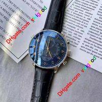 Роскошные хронографские мужчины смотрят Португанец Синие детали и кожаные Ограниченные часы Наручные часы