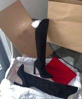 겨울 패션 레이디 레드 하단 부츠 Eleonor Botta 높이 부츠 여성 스웨이드 가죽 하이힐 무릎 부츠 EU35-43 상자