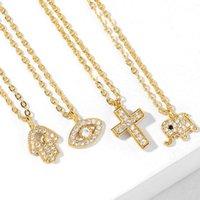 Anhänger Halsketten Gepflastertes Kreuz Böse Auge Für Frauen Kleine Elefant Fatima Hand Halskette Kristall Hamsa Gold Erklärung Schmuck Nkeq77