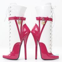 7 pulgadas Super High Lace Up Boots de tobillo para las mujeres Patchwork Punto puntiagudo Sexy BDSM Pata Ballet Botas de tobillo Bloqueo / Cadena 2181
