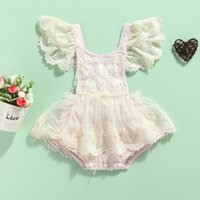 Jumpsuits Born Floral Lace Romper, Baby Girls Tie-up Fringe Sleeve Square Collar Playsuit