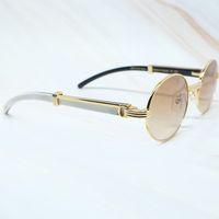 2021 Neue klassische Männer Weiße Büffelhornrahmen Shades Marke Sonnenbrille Oval Luxus Carter Gläsern Runde 7550178 22ib