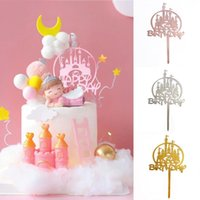 Other Festive & Party Supplies Princess Castle Acrylic Cake Topper Engagement Wedding Birthday Golden Resuable Cupcake Decor Free