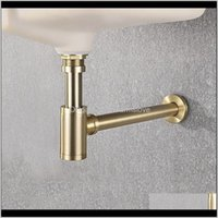 High Quality Brass Body Basin Wast Drain Wall Connection Plumbing P-Traps Wash Pipe Bathroom Sink Trap Black Brushed Gold Chrome Nruww Avvuu