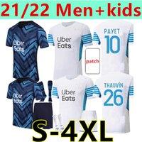 크기 : S-4XL 22 22 마르세이유 축구 유니폼 Olympique De Om Maillot Foot 홈 멀리 골키퍼 Cuisance Thauvin Benedetto Kamara Payet Men + Kids Football Shirt
