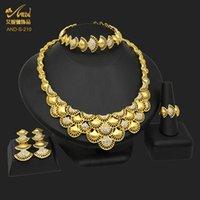 Earrings & Necklace Nigerian Wedding Gold Plated Jewelry Set Crystal 24K Brazilian Bridal Bracelet Earring Ring Dubai Jewellery