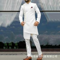 Ethnic Clothing 2021 Classic African White Long Blazer Groom Tuxedo Groomsman High Quality Men's Wedding Dress Prom Male Business Suits