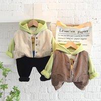 Clothing Sets 2022 Winter Baby Set Fleece Thicken Pullover Hoodies Vest Pants 3pcs Babys Kids Tracksuit Boys Girls Warm Costume