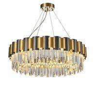 LED E14 الحديثة المقاوم للصدأ الكريستال شنقا مصابيح الذهب قلادة الأنوار الثريا لفيلات غرفة المعيشة فندق الردهة غرفة الطعام بهو