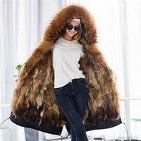 Maomaokong , chaqueta de invierno Real moda, abrigo piel natural, cuello mapache real, largo suelto 211013