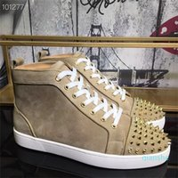 fashion-Designers Rivets Red Bottom Casual Shoes Studded Spikes High-top Sneakers Balck Genuine Leather Women Men Boots