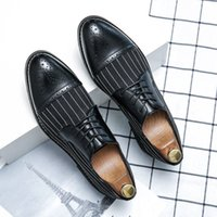 Fashion PU Leather Stitching Stripe Lace Up Business Dress Shoes Comfortable Men Casual Driving Hairdresser Daily Versatile DH200
