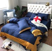 شحن مجاني التطريز البحرية مجموعات الفراش آلهة 2021 القطن غطاء السرير مجموعات 4 أجزاء أعلى جودة حاف غطاء دعوى للمنزل