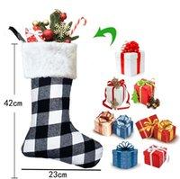 Cadeau de Noël Sac de Noël Porte de Noël Ornements Plaid Noël Stocking Sac-cadeau