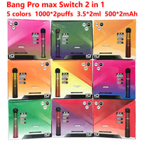 Bang Pro Max Switch 2 in 1 Bang XXL XXTRA 일회용 Vape 장치 Vape 카트리지 증기 전자 담배 휴대용 기화기 최대 24 색