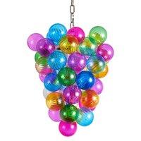 Lampen Kristall LED Glas Kronleuchter Anhänger Für Wohnzimmer Moderne Regenbogen Geblasene Blase Minimalistische Lichter Acryl Indoor Beleuchtung Kronleuchter Licht