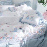 Conjuntos de cama de algodão Embroiedered desenhos animados conjunto com ligação de renda 4 pcs princesa cama de frescor capa de alta qualidade menina do casamento