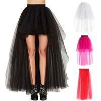 wholesale Women Skirt New Punk Sexy Mesh Irregular Front Short Back Long Tutu Puff Skirts Elastic Waist