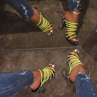 2020 새로운 섹시한 멀티 뱀 인쇄 샌들 여성 오픈 혼합 색상 투명 블록 뒤꿈치 샌들 크리스탈 슬리퍼 펌프 신발 판매 SH 63C5 #