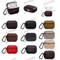 Diseñador de moda Airpods Casos para auriculares Pro 1 2 Gifts hermosos Cuero Retro Classic Bluetooth cubierta protectora con gancho