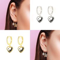 Hoop & Huggie CANNER Earrings With Charms 925 Silver Heart-shaped Black White Dropping Oil Ear Rings Pendientes Plata 2PCS