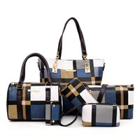6pcs Women Set Fashion Pu Leather Women's Handbags Grid Print Messenger Shoulder Bag Wallets Famous Brand 2021