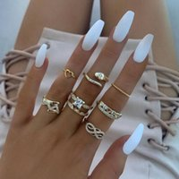 Nuevo anillo exagerado amor serpiente geometría infinito símbolo conjunto diamante siete pieza conjunto