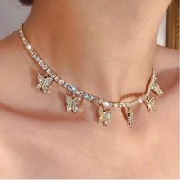 Rhinestone butterfly pendant necklace for women chain jewelr...