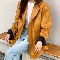 Women's Jackets Women 2021 Autumn Korea Temperament Ladies Retro Suit Collar Single Breasted Leisure Motorcycle Leather Coat