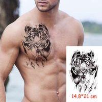 방수 임시 문신 스티커 타이거 상어 발톱 동물 Tatoo 물 전사 가짜 Tatoo 플래시 문신 여자 남자 아이