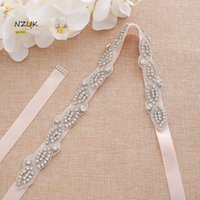 Wedding Sashes Rhinestones Ribbons Bridal Belt Pearls Silver Crystal Sash For Party Gown ZZY199S