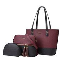 3 stücke frauen tasche set mode pu leder damen handtasche Kontrast Farbe Messenger Bag Schulter Brieftasche Taschen für Frauen 2021