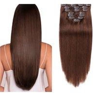 헤어 익스텐션의 클립 인간의 머리카락 100g 천연 연장 기계 레미 7 개 실키 스트레이트 인간의 머리카락 클립