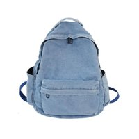 Backpack Men Women Denim Fashion Simple Student Schoolbag Couples Outdoor Multi-pocket Solid Color Casual Travel