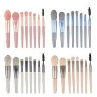 Makeup Brushes 8PCS Set Soft Natural Synthetic Hair Wood Handle Eye Shadow Blusher Foundation Eyelash Cosmetic