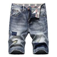 Männer Designer gedruckt Denim Shorts Sommertasche Große Größe Casual Ripped Beunruhigte Löcher Herren Jeans Slim Fit Herren Shorts Hose D663