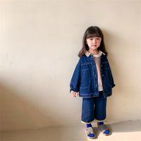 Bahar Çocuklar Moda Patchwork Denim Giyim Setleri Unisex Rahat Ceket Ve Gevşek Kot 2 adet Çocuk Kıyafetleri 210806